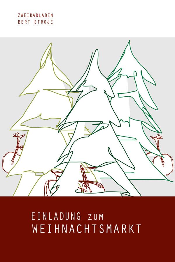 einladung zum weihnachtsmarkt - fahrrad stroje, Einladungen